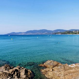 Magnificent view of Cavalaire bay from National park of Cap Lard